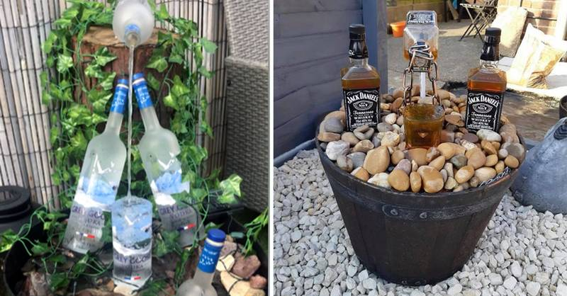 People Are Making Water Features Out Of Their Old Booze Bottles
