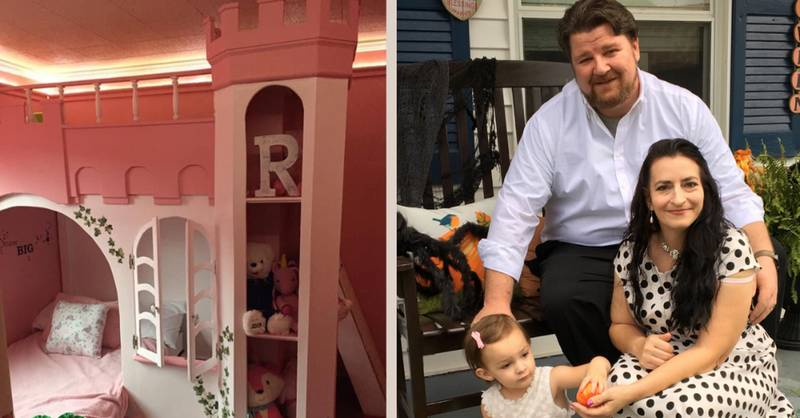 Parents Build Daughter Incredible DIY Castle Bunk Bed From Scratch