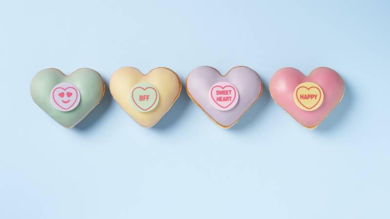 Krispy Kreme Partner With Swizzels To Launch New Love Hearts Doughnuts