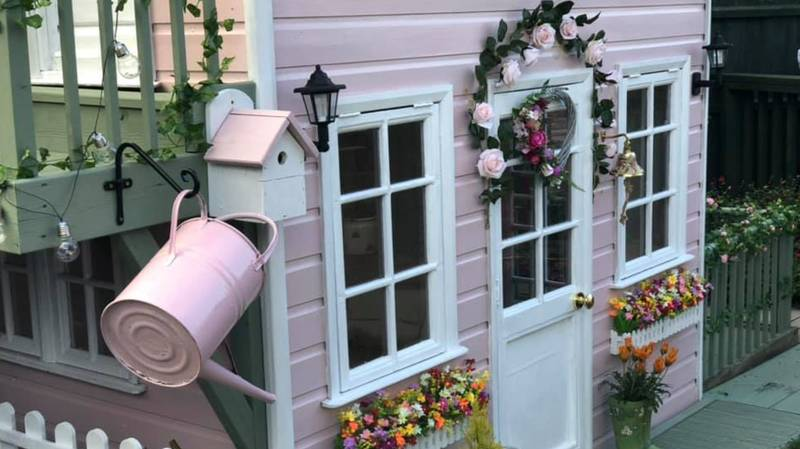 Woman Upcycles Wendy House Into Pink Palace With Bargain Buys