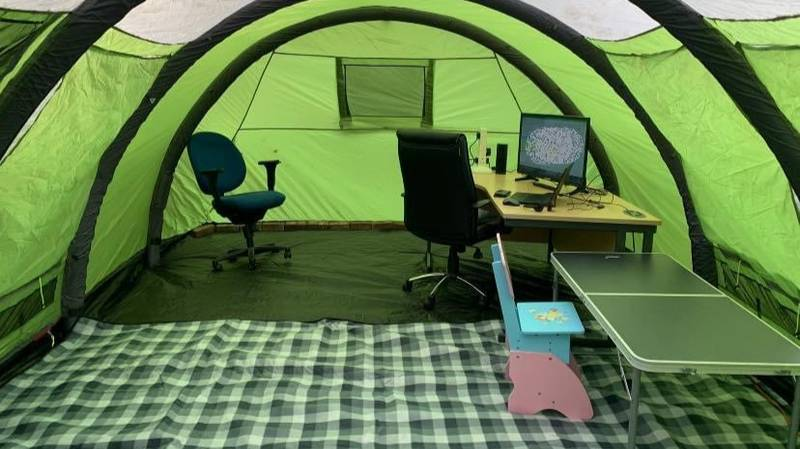 People Are Turning Tents Into Offices To WFH During Lockdown