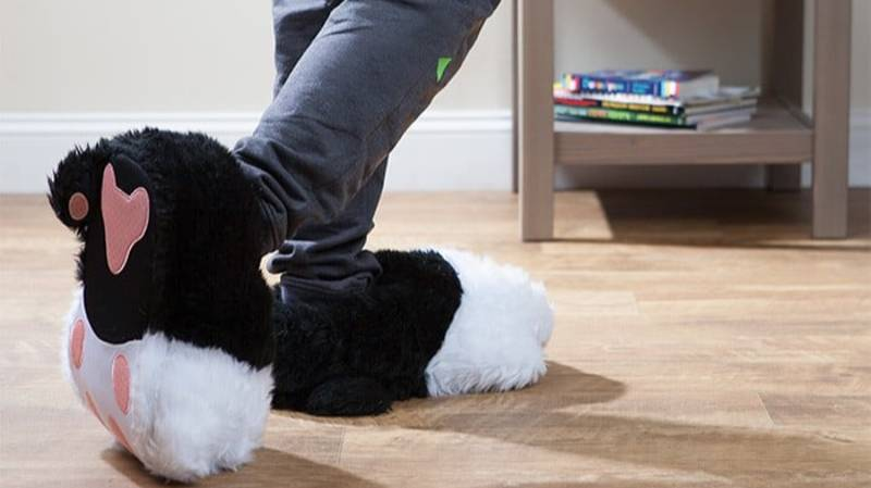 These Fluffy Cat Slippers Purr As You Walk Around Your Home