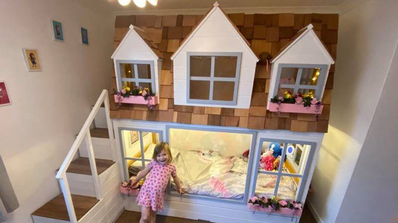 Couple Create Dolls House Bunk Bed With Secret Hiding Space For Their Daughter